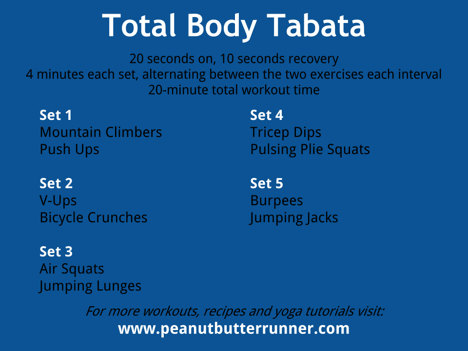 Tabata Tuesday 20 Minutes Of Bodyweight Strength Cardio Workout Peanut Er Runner