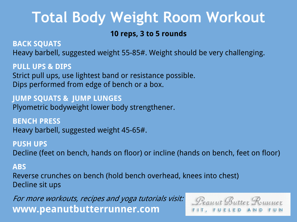 Total Body Weight Room Workout Peanut Butter Runner