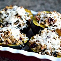 Acorn Squash Stuffed with Brown Rice, Kale, Cranberries and Pecans {Recipe + Giveaway}