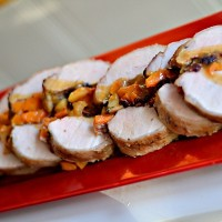 Cider Brined Pork Loin Stuffed with Butternut Squash, Apples and Cranberries