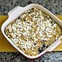 Quinoa Breakfast Bake with Blueberries, Bananas and Vanilla Soymilk