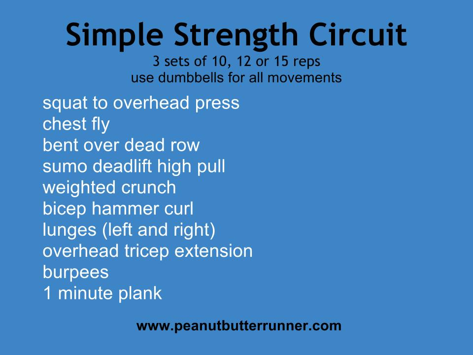 simple dumbbell strength circuit peanut butter runner. Black Bedroom Furniture Sets. Home Design Ideas