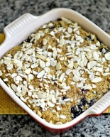 Quinoa Breakfast Bake with Blueberries, Bananas and Vanilla Soymilk