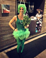 Weekend + I dressed up as a green smoothie for Halloween