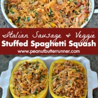 Stuffed Spaghetti Squash with Italian Sausage and Veggies