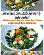 Brussles Sprout and Kale Salad with Butternut Squash, Pears, Goat Cheese and a Balsamic Date Vinaigrette