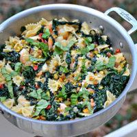 Kale + Pistachio Shrimp Pasta Skillet