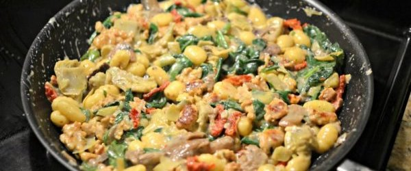 Sausage, Mushroom, Spinach and Artichoke Gnocchi Skillet – All Ingredients from Trader Joe's!