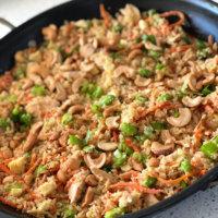 Salmon, Edamame and Cashew Cauliflower Fried Rice